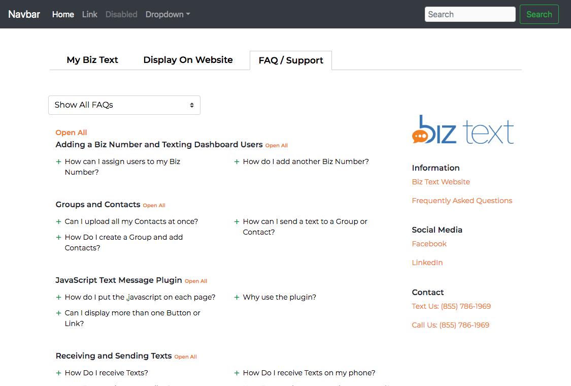 Biz Text Javascript Plugin Third Tab Showing FAQ and Support