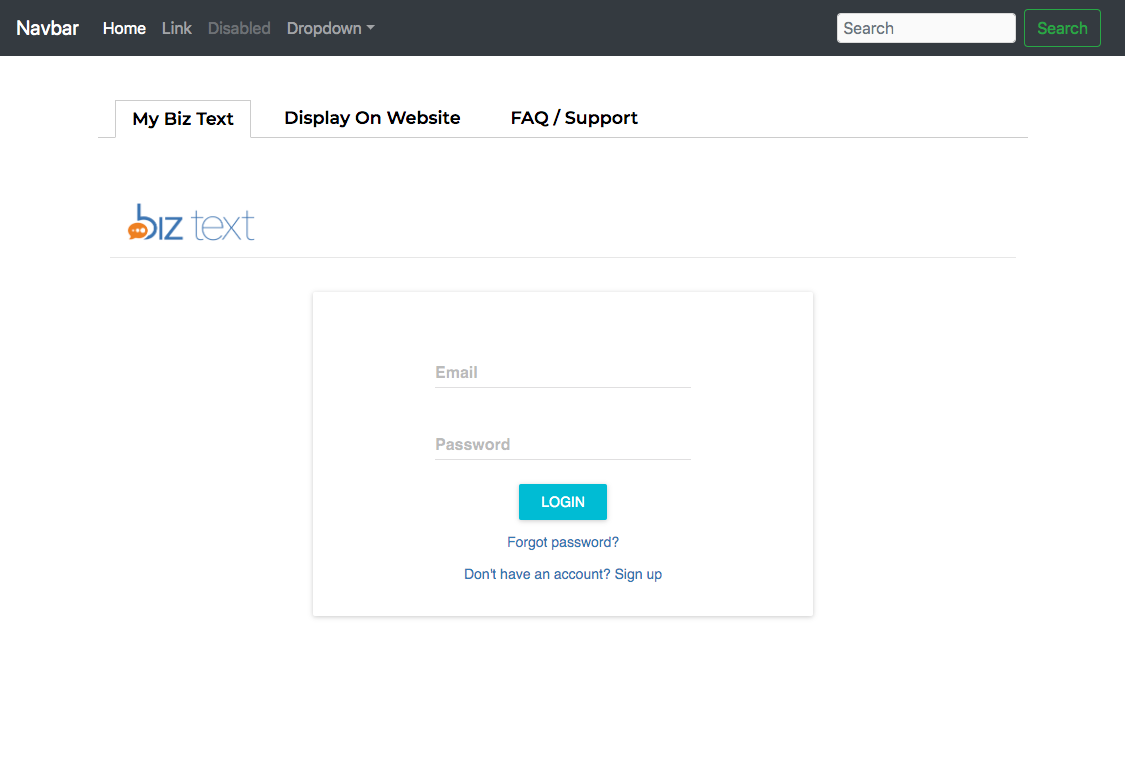Biz Text Javascript Plugin First Tab Showing Log In