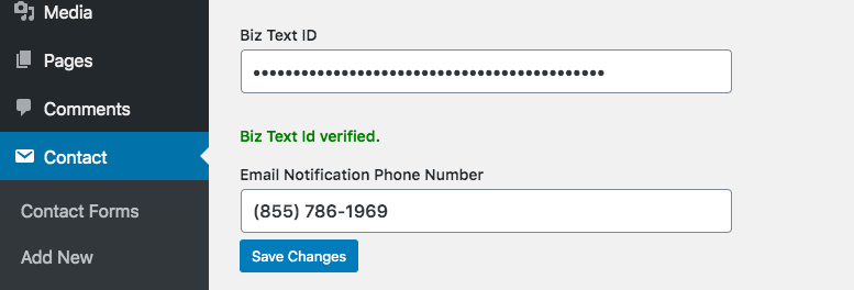 Screenshot of Biz Text ID verified in global settings