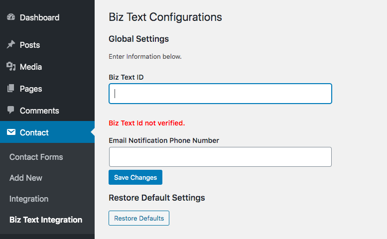 Screenshot of the Biz Text Integrations Page