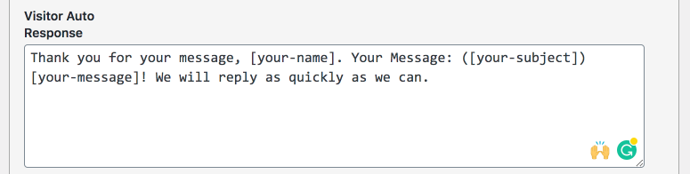 Screenshot of the autoresponse field and an example message