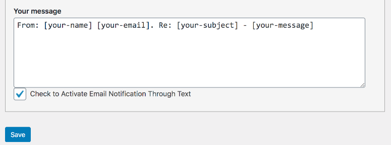 screenshot of your message and an example message using tags