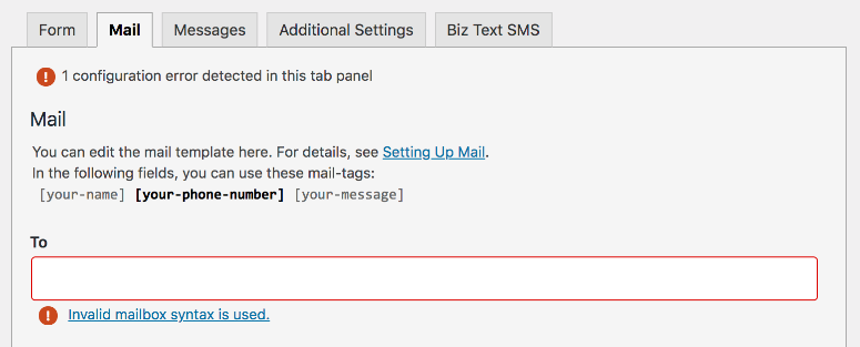 Screenshot of removing email from To field in mail tab