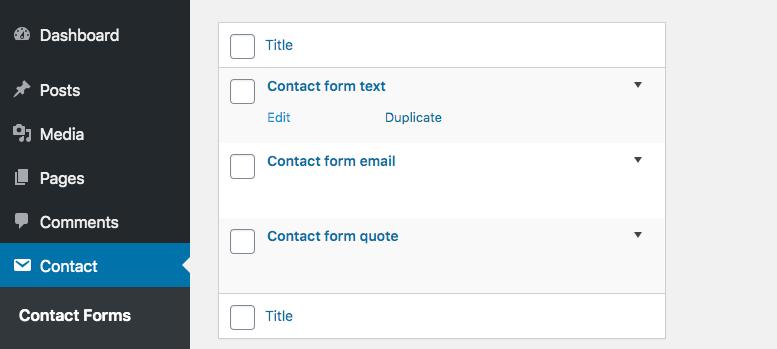 Screenshot of contact forms