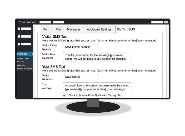 illustration of a monitor showing the Biz Text SMS form in contact admin