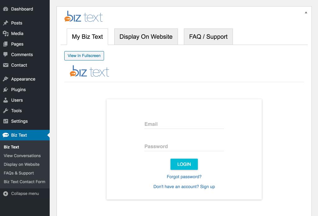Screenshot of the plugin login under My Biz Text Tab