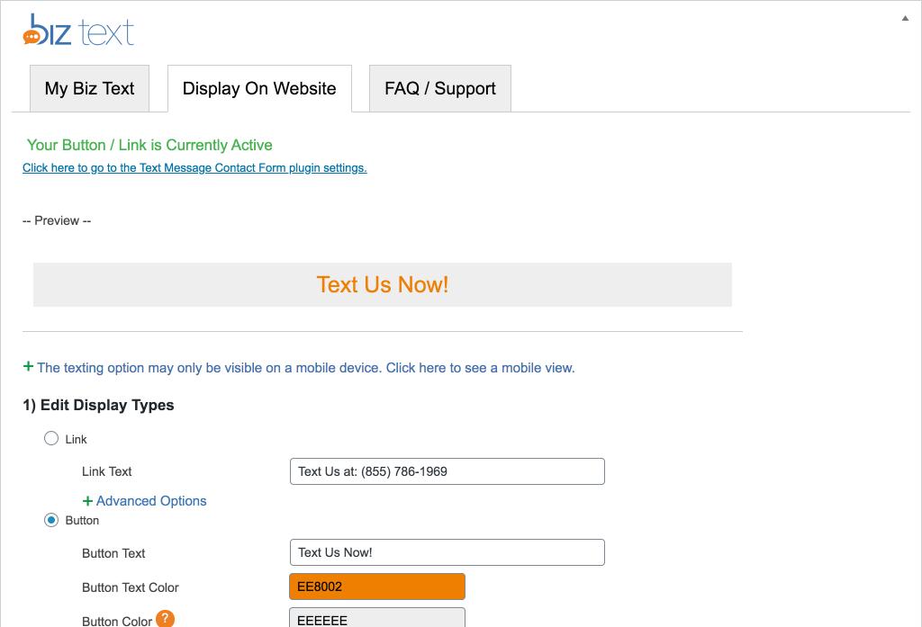 Screenshot of the Display on Website Tab of plugin