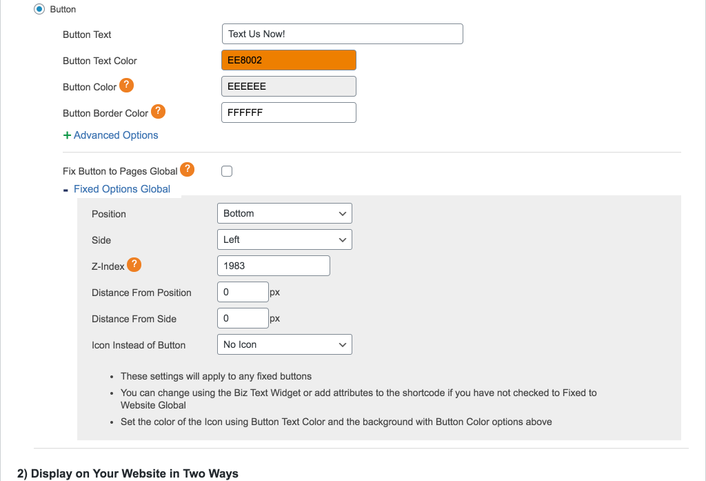 Screenshot showing options to fix a button or icon in the plugin