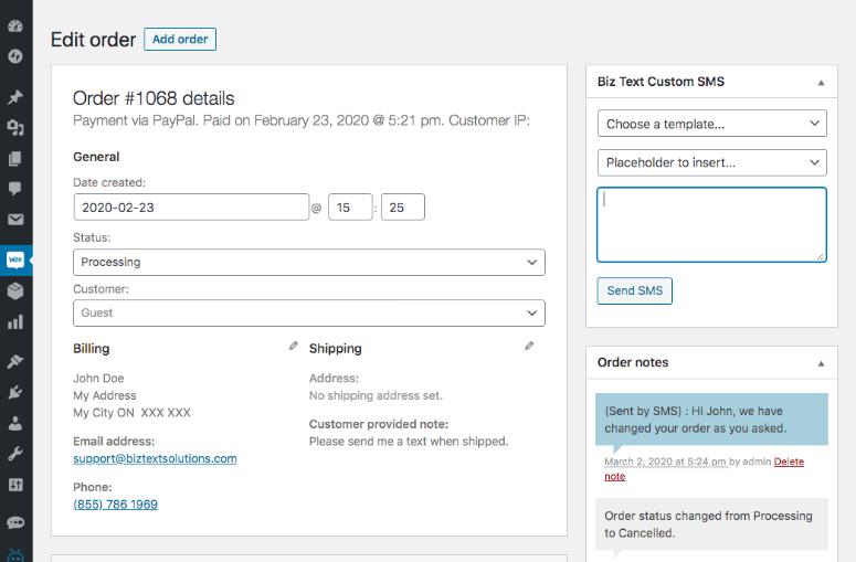 Screenshot of an order being edited