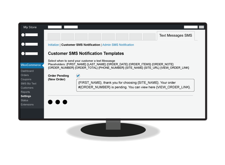Illustration of a monitor showing the Text Messages SMS Tab in wooCommerce settings using the Text Message SMS Extension for WooCommerce