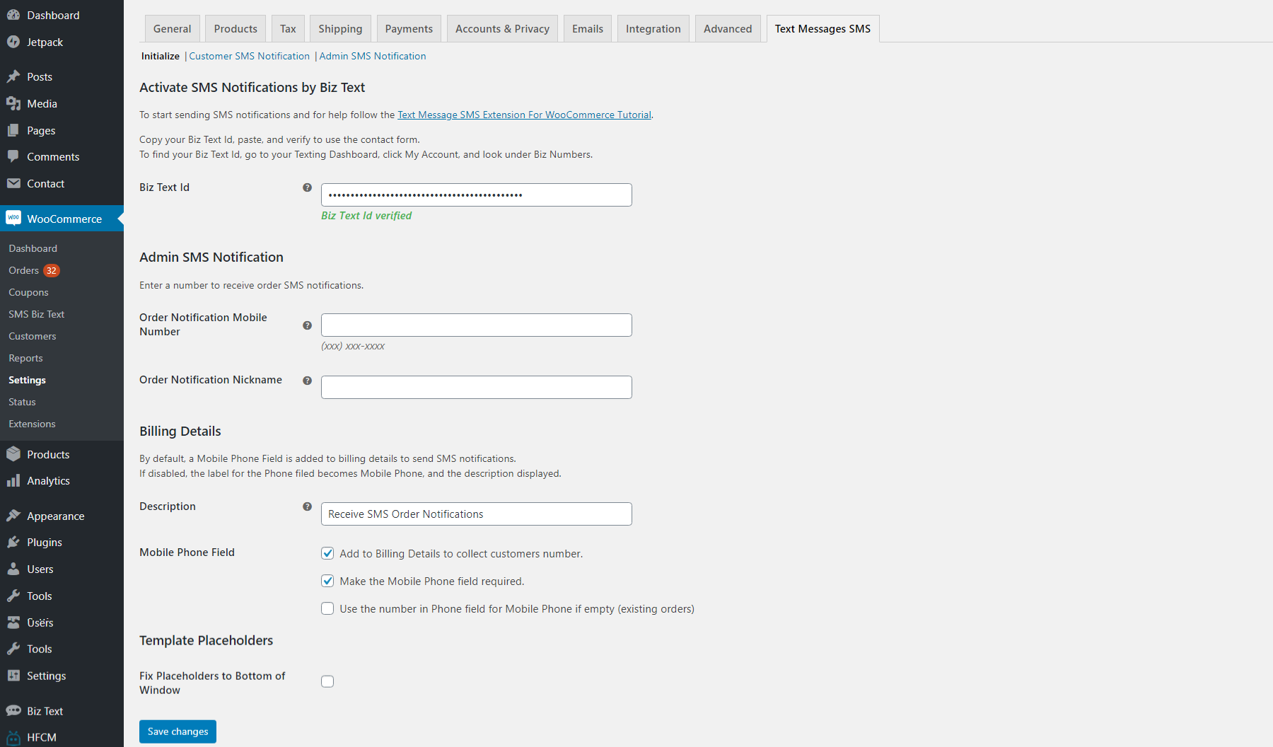 Screenshot of the Administrative settings page for Text Message SMS Extension for WooCommerce plugin