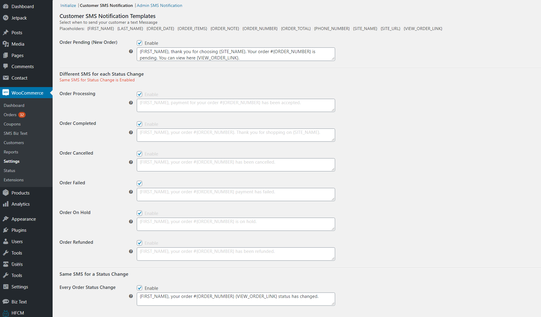 Screenshot of the Customer SMS notifications section in the messages SMS tab