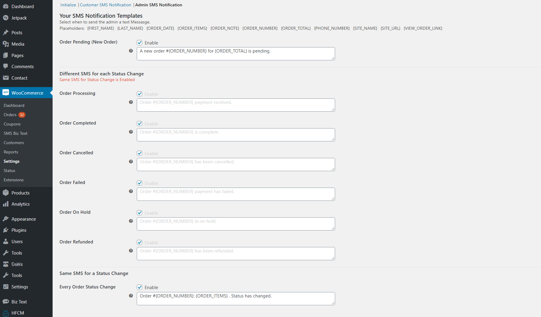 Screenshot of the Admin SMS notifications section in the messages SMS tab