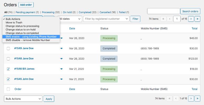 Screenshot showing an order list