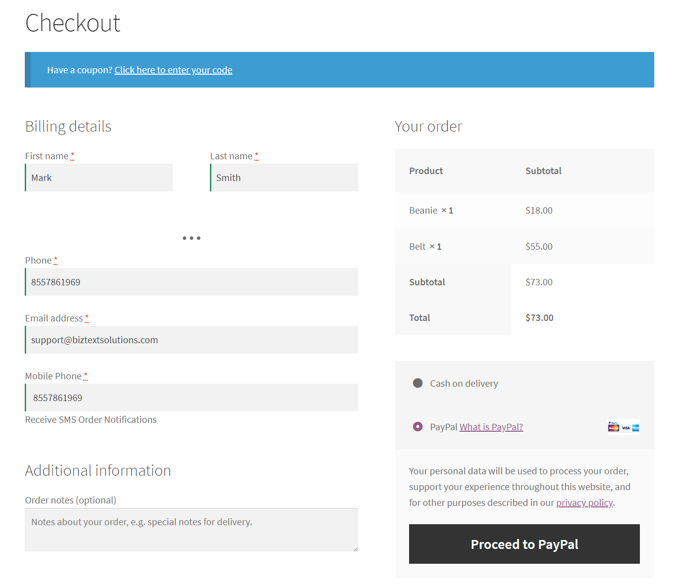 Screenshot for Checkout Page