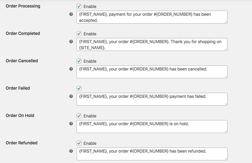 Screenshot for Customer SMS Order Status Templates