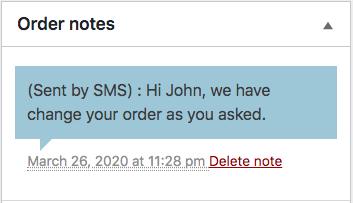Screenshot for Order Details Order Notes