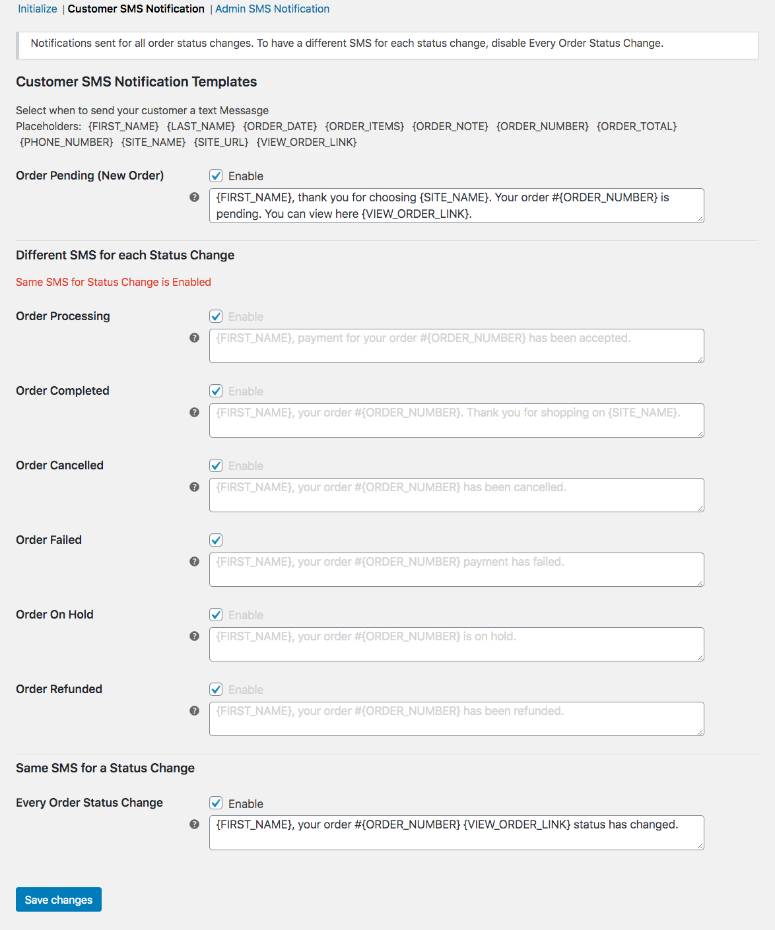 Screenshot showing the Customer SMS Notifications section in the Text Messages Tab in WooCommerce Settings