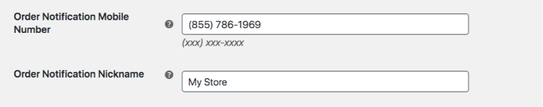 Screenshot showing two fields, one for mobile number and another for a nickname