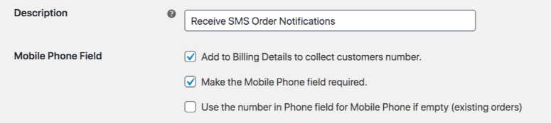 Screenshot showing a field for description, and three options under mobile phone field