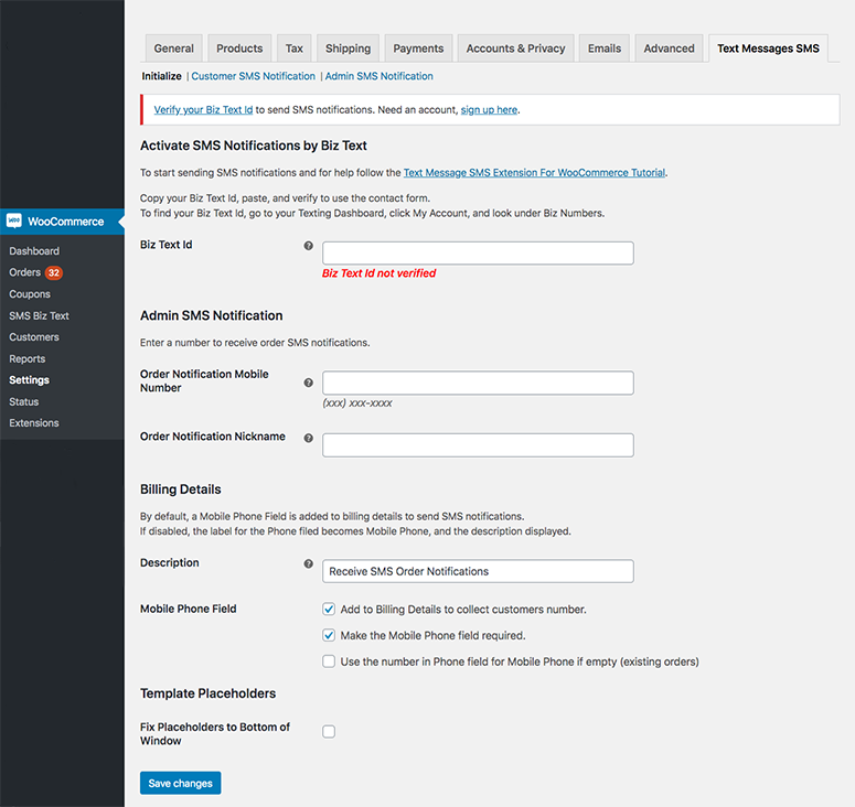 Screenshot showing the Text Messages Tab in WooCommerce Settings